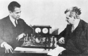 Capablanca (left) and Lasker (right).
